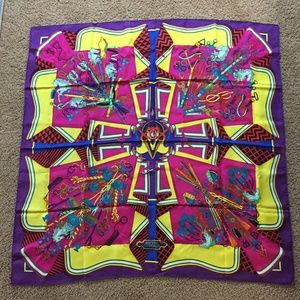 Hermes Bouquets Sellier Scarf, 100% silk